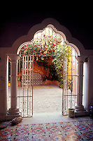 Moorish-style doorway in a colonial mansion in the city of Campeche, Mexico. Old Campeche was declared a UNESCO World Heritage site in 1999.