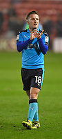 Fleetwood Town's George Glendon applauded the fans<br /> <br /> Photographer Dave Howarth/CameraSport<br /> <br /> The EFL Sky Bet League One - Walsall v Fleetwood Town - Tuesday 14th March 2017 - Banks's Stadium - Walsall<br /> <br /> World Copyright &copy; 2017 CameraSport. All rights reserved. 43 Linden Ave. Countesthorpe. Leicester. England. LE8 5PG - Tel: +44 (0) 116 277 4147 - admin@camerasport.com - www.camerasport.com