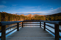 The pier at Sprague Lake during sunrise. Rocky Mountain National Park, Colorado.