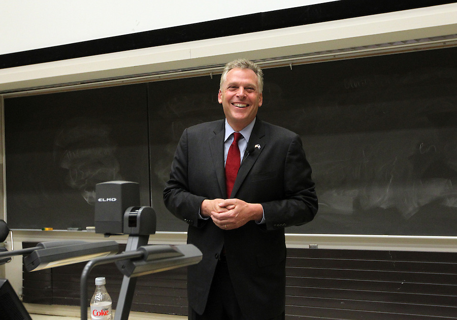 Gubernatorial candidate Terry McAuliffe visits the University of Virginia in Charlottesville, VA. Photo/Andrew Shurtleff
