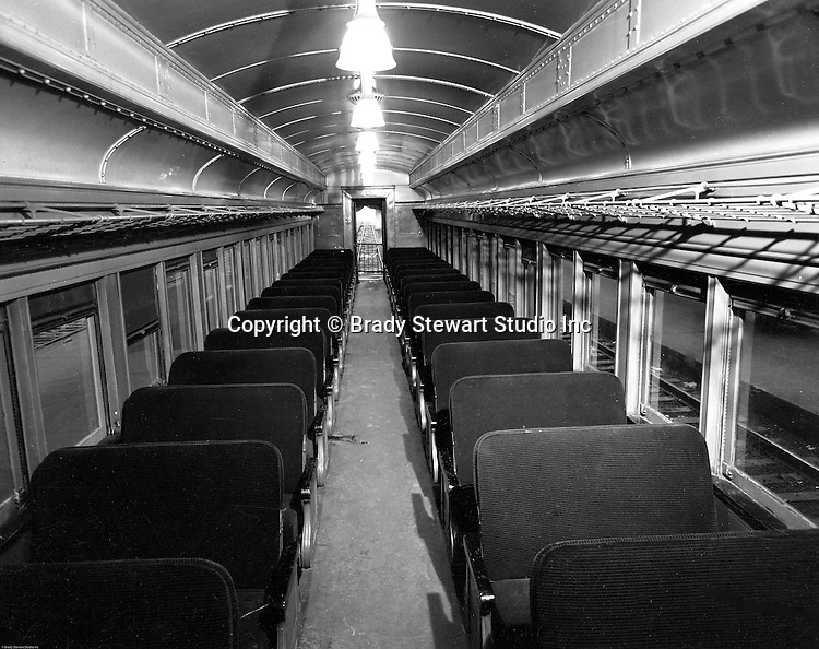 Pittsburgh PA - View of the inside of a railroad passenger car at Pittsburgh's Penn Station - 1959.
