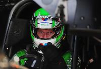 Apr. 27, 2012; Baytown, TX, USA: NHRA funny car driver Jack Beckman during qualifying for the Spring Nationals at Royal Purple Raceway. Mandatory Credit: Mark J. Rebilas-