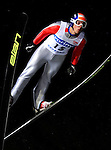 VINCENT DESCOMBES SEVOIE of France soars through the air during the FIS World Cup Ski Jumping in Sapporo, northern Japan in February, 2008.