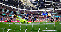 Chelsea's Thibaut Courtois is beaten by the header of Tottenham Hotspur's Harry Kane to make the score 1-1      <br /> <br /> <br /> Photographer Craig Mercer/CameraSport<br /> <br /> Emirates FA Cup Semi-Final - Chelsea v Tottenham Hotspur - Saturday 22nd April 2017 - Wembley Stadium - London<br />  <br /> World Copyright &copy; 2017 CameraSport. All rights reserved. 43 Linden Ave. Countesthorpe. Leicester. England. LE8 5PG - Tel: +44 (0) 116 277 4147 - admin@camerasport.com - www.camerasport.com