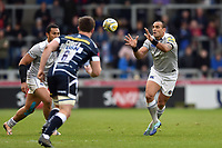 Kahn Fotuali'i of Bath Rugby receives the ball. Aviva Premiership match, between Sale Sharks and Bath Rugby on May 6, 2017 at the AJ Bell Stadium in Manchester, England. Photo by: Patrick Khachfe / Onside Images