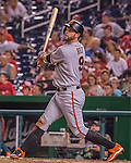 6 August 2016: San Francisco Giants first baseman Brandon Belt in action against the Washington Nationals at Nationals Park in Washington, DC. The Giants defeated the Nationals 7-1 to even their series at one game apiece. Mandatory Credit: Ed Wolfstein Photo *** RAW (NEF) Image File Available ***