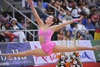 Silviya Miteva of Bulgaria performs split leap during event finals at 2010 Grand Prix Marbella at San Pedro Alcantara, Spain on May 16, 2010.  Silviya placed 9th AA at Marbella. (Photo by Tom Theobald).