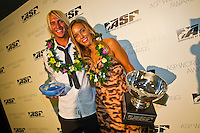 """GOLD COAST, Queensland/Australia (Thursday, February 24, 2011) Owen Wright (AUS) and Sally Fitzgibbons (AUS) -The ASP World Surfing Awards was held  tonight at the Gold Coast Convention and Exhibition Centre. .Surfing's """"night of nights"""", the ASP World Surfing Awards, was a gala event, hosting the world's best surfers as well as distinguished figures from the surfing industry to honor of the 2010 ASP World Champions.. .Kelly Slater (USA), 39,  accepted his history-making and unprecedented tenth ASP World Title just a day before opening his 2011 ASP World Title campaign at the Quiksilver Pro Gold Coast.  .Stephanie Gilmore (AUS), 23,  made her own history ton the  evening, collecting her fourth consecutive Women's World Title. Gilmore will begin her 2011 assault this weekend at the opening event of the 2011 ASP Women's World Title season, the Roxy Pro Gold Coast.. .Slater and Gilmore headlined a slew of incredible athletes on the evening.. .Awards Recipient List:. .2010 ASP World Champion:Kelly Slater (USA).2010 ASP Women's World Champion:Stephanie Gilmore (AUS). .2010 ASP World Tour Runner-Up:Jordy Smith (ZAF).2010 ASP Women's World Tour Runner-Up:Sally Fitzgibbons (AUS). .2010 ASP World Tour Rookie of the Year: Owen Wright (AUS).2010 ASP Women's World Tour Rookie of the Year:Carissa Moore (HAW. .2010 ASP World Tour 'Breakthrough Performer':TBA.2010 ASP Women's World Tour 'Breakthrough Performer':TBA. .2010 ASP World Longboard Champion:Duane DeSoto (HAW).2010 ASP Women's World Longboard Champion:Cori Schumacher (HAW). .2010 ASP World Junior Champion:Jack Freestone (AUS).2010 ASP Women's World Junior Champion:Alizee Arnaud (FRA). .Photo: joliphotos.com"""