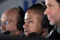 January 5, 2006: Oscar Award Winning actor Cuba Gooding Jr. joined the Bob Miller (left) and Jim Fox (RT) in the FSN West broadcasting booth for live coverage calling game action of the NHL Los Angeles Kings 4-0 win over the Phoenix Coyotes at the Staples Center, CA.
