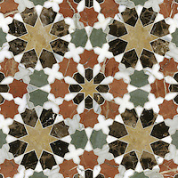 Granada Grande, a natural stone waterjet mosaic shown in Emperador Dark, Verde Luna, Rosa Verona, Calacatta Tia, Giallo Reale polished, is part of the Miraflores Collection by Paul Schatz for New Ravenna Mosaics.<br />