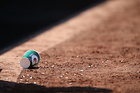 OAKLAND, CA - SEPTEMBER 10:  An empty Gatorade cup sits in the dirt in front of the Seattle Mariners dugout during the game against the Oakland Athletics at the Oakland Coliseum on Saturday, September 10, 2016 in Oakland, California. Photo by Brad Mangin
