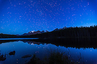 The Milky Way over Herbert Lake, Banff, Alberta, near Lake Louise. Mount Temple is glacier-clad peak at left. A single exposure of 30 seconds at f/2.8 with 16-35mm lens and Canon 5D MkII at ISO 1000. No Moon, and taken in late twilight.