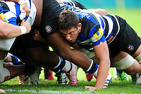 Charlie Ewels of Bath Rugby in action at a scrum. Aviva Premiership match, between Bath Rugby and Newcastle Falcons on September 10, 2016 at the Recreation Ground in Bath, England. Photo by: Patrick Khachfe / Onside Images