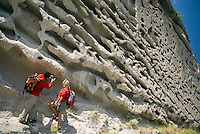 Salina, Eolian Islands, Italy, June 2006. Gabriele show a thick layer of Volcanic rocks that formed after a pyroclastic avalanche covered the landscape. The Volcanic Eolian Islands of Southern Italy offer a spectacular landscape for trekking while staying in picturesque towns. Photo by Frits Meyst/Adventure4ever.com