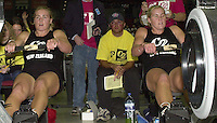 &copy; 2001 Peter Spurrier Sports  Photo.email pictures@rowingpics.com.Tel 44 (0) 7973 819 551.&copy; Peter Spurrier.18-11-2001.PPP Healthcare - British Indoor Rowing Championship.The National Indoor Arena.Caroline Evers-Swindell (Right) and twin sister Georgina.   (Hamilton - New Zealand). [Mandatory Credit: Peter SPURRIER/Intersport Images]<br />