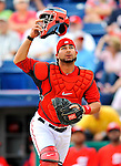 7 March 2012: Washington Nationals catcher Jesus Flores in action against the St. Louis Cardinals at Space Coast Stadium in Viera, Florida. The teams battled to a 3-3 tie in Grapefruit League Spring Training action. Mandatory Credit: Ed Wolfstein Photo