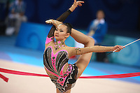 August 23, 2008; Beijing, China; Rhythmic gymnast Aliya Yussupova of Kazakhstan turns in ring position with ribbon on way to placing 5th in the All-Around final at 2008 Beijing Olympics..(©) Copyright 2008 Tom Theobald