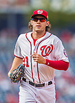 20 September 2015: Washington Nationals outfielder Matt den Dekker trots back to the dugout during a game against the Miami Marlins at Nationals Park in Washington, DC. The Nationals defeated the Marlins 13-3 to take the final game of their 4-game series. Mandatory Credit: Ed Wolfstein Photo *** RAW (NEF) Image File Available ***