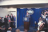 United States President George H.W. Bush holds a press conference in the Brady Press Briefing Room of the White House in Washington, D.C. to outline his new budget proposals on August 14, 1990.<br /> Credit: Howard L. Sachs / CNP