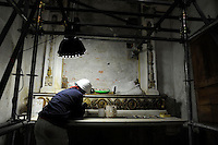 Milano, cantiere della chiesa di San Gottardo in Corte della Veneranda Fabbrica del Duomo riaperto per Expo 2015.<br /> Milan, site of the church of San Gottardo in Corte of the Venerable Factory of the Duomo of Milan, a 600-year-old organization that was established to supervise the construction of the Cathedral of Milan.