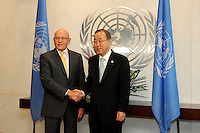 NEW YORK, USA - SEPT 23. U.N  secretary-General,Ban Ki Moon shake hands with Tammam Salam Prime Minister of Lebanon during a meeting celebrated as part of the 69th United Nations General Assembly on September 23.2014 photo by VIEWpress