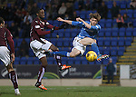 St Johnstone v Hearts..19.12.15  SPFL  McDiarmid Park, Perth<br /> Murray Davidson shoots wide<br /> Picture by Graeme Hart.<br /> Copyright Perthshire Picture Agency<br /> Tel: 01738 623350  Mobile: 07990 594431