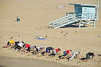 Santa Monica beach workout, Wednesday, January 30, 2013.