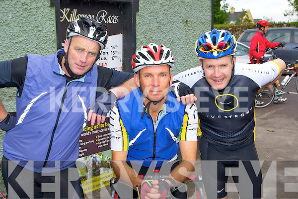 Paudie Halpin, Andy Heygate and Jer Walsh Kenmare preparing at the start of the Ring of Kerry cycle on Saturday in Killarney....