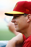 28 February 2010: 4th year Head coach #23 Chad Kreuter of the USC Trojans Baseball team during the first annual Dodgertown Classic at Dodger Stadium at Chavez Ravine. A college baseball round robin tournament sponsored by the MLB Los Angeles Dodgers. 14,588 were in attendance to watch the UCLA Bruins defeat the USC Trojans 6-1 on a sunny afternoon in Southern California.