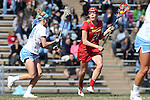 27 February 2016: Maryland's Taylor Cummings (21) and North Carolina's Stephanie Lobb (left). The University of North Carolina Tar Heels hosted the University of Maryland Terrapins in a 2016 NCAA Division I Women's Lacrosse match. Maryland won the game 8-7.