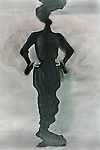Conceptual image of female standing with hands on hips in black dress