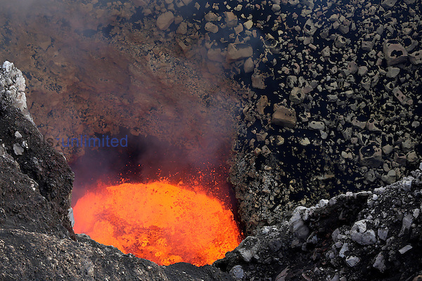 Active glowing lava lake in bottom of Santiago Crater of Erupting Masaya Volcano, Nicaragua