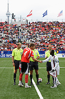 Austria defender (4) Sebastian Proedl and USA midfielder (11) Freddy Adu shake hands prior to the start of the match. Austria (AUT) defeated the United States (USA) 2-1 in overtime of a FIFA U-20 World Cup quarter-final match at the National Soccer Stadium at Exhibition Place, Toronto, Ontario, Canada, on July 14, 2007.