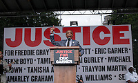 Rev Al Sharpton speaks during a rally for the first anniversary of the death of Eric Garner in Brooklyn New York 07/18/2015. Kena Betancur/VIEWpress
