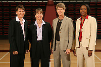 10 October 2006: Karen Middleton, Tara Vanderveer, Amy Tucker and Charmin Smith on picture day at Maples Pavilion in Stanford, CA.