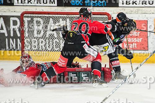 18.01.2013, Tiroler Wasserkraft Arena, Innsbruck, AUT, EBEL, HC TWK Innsbruck vs Graz 99ers, 43. Runde, im Bild Thomas Tragust, (HC ,TWK Innsbruck, # 34) Mike Bartlett, (HC TWK Innsbruck, # 20), Olivier Latendresse, (Graz 99ers, #44) // during the Erste Bank Icehockey League first Round match betweeen HC TWK Innsbruck and Graz 99ers at the Tiroler Wasserkraft Arena, Innsbruck, Austria on 2013/01/18. EXPA Pictures © 2013, PhotoCredit: EXPA/ Eric Fahrner