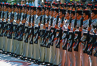 Gurkhas standing to attention, Hong Kong