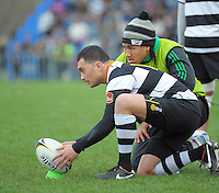 Ma'a Nonu brings the ball out for Ories kicker Fa'atonu Fili during the Wellington Club Rugby Jubilee Cup final between Tawa and Oriental-Rongotai at Hutt Recreation Ground, Lower Hutt, Wellington, New Zealand on Sunday, 4 August 2013. Photo: Dave Lintott / lintottphoto.co.nz