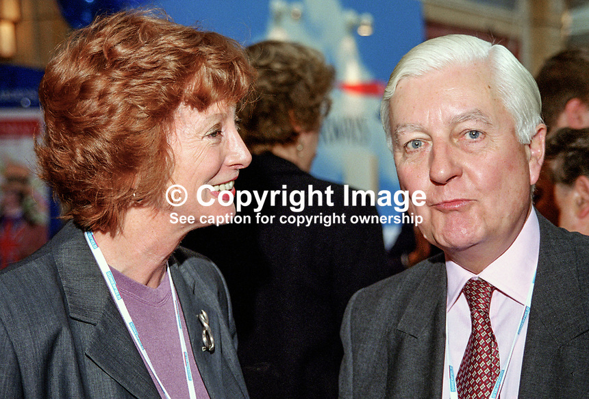 Baroness Patricia Hollis, Life Peer, UK, Labour Party,  with Peter Temple-Morris, MP, UK, Labour Party, at annual conference in Blackpool.199810126.<br /> <br /> Copyright Image from Victor Patterson, 54 Dorchester Park, Belfast, UK, BT9 6RJ<br /> <br /> t1: +44 28 9066 1296 (from Rep of Ireland 048 9066 1296)<br /> t2: +44 28 9002 2446 (from Rep of Ireland 048 9002 2446)<br /> m: +44 7802 353836<br /> <br /> e1: victorpatterson@me.com<br /> e2: victorpatterson@gmail.com<br /> <br /> The use of any of my copyright images is subject to my Terms &amp; Conditions. It is IMPORTANT that you familiarise yourself with them. They are available at my website, victorpatterson.com.<br /> <br /> None of my copyright images may be used on the Internet unless they are visibly watermarked, i.e. &copy; Victor Patterson within the body of the image. My metadata, denoting my copyright must NOT be deleted. <br /> <br /> Web use is extra at currently recommended NUJ rates. Maximum permitted web size is<br />  400kb. <br /> <br /> Images must not be passed on to a third party - they are for the use of the authorised recipient only.