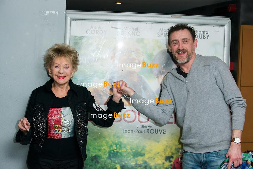 Annie Cordy et Jean-Paul Rouve lors de l' Avant-Premi&egrave;re du film &quot; Les Souvenirs &quot;,  &agrave; l' UGC Toison d'Or.<br /> Belgique, Bruxelles, le 19 janvier 2015.