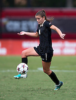 Ally Berry (8) of Wake Forest takes control of the ball during the game at Ludwig Field in College Park, MD.  Maryland defeated Wake Forest, 1-0.