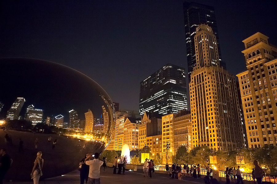 Chicago, IL as seen from Millennium Park at night