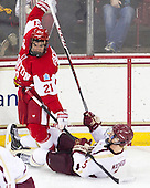 Sean Escobedo (BU - 21), Michael Matheson (BC - 5) - The Boston College Eagles defeated the visiting Boston University Terriers 5-2 on Saturday, December 1, 2012, at Kelley Rink in Conte Forum in Chestnut Hill, Massachusetts.