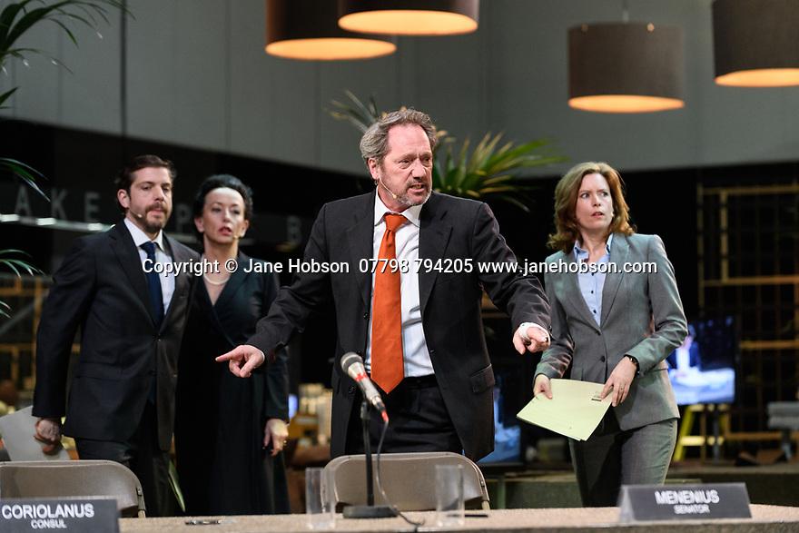 London, UK. 16.03.2017. Toneelgroep Amsterdam presents<br /> &quot;Roman Tragedies&quot;, a seamless interpretation of William Shakespeare's &quot;Coriolanus&quot;, Julius Caesar&quot; and &quot;Anthony and Cleopatra&quot;, in the Barbican Theatre. The Barbican first introduced Toneelgroep Amsterdam to UK audiences in 2009 with this same production. The picture shows: Coriolanus - Ramsey Nasr (Menenius), (Cinna), Gijs Scholten van Aschat (Coriolanus), Maria Kraakman (Cominius). Photograph &copy; Jane Hobson.