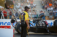 Sep 23, 2016; Madison, IL, USA; NHRA chief starter Mike Gittings during qualifying for the Midwest Nationals at Gateway Motorsports Park. Mandatory Credit: Mark J. Rebilas-USA TODAY Sports