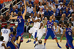 31 MAR 2012:  Marquis Teague (25) of the University of Kentucky shoots over Jeff Withey (5) of the University of Kansas in the championship game of the 2012 NCAA Men's Division I Basketball Championship Final Four held at the Mercedes-Benz Superdome hosted by Tulane University in New Orleans, LA. Kentucky defeated Kansas 67-59 to win the national title. Brett Wilhelm/NCAA Photos