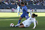 27 November 2010: Carli Lloyd (USA) (in white) and Elisa Camporese (ITA) (in blue). The United States Women's National Team defeated the Italy Women's National Team 1-0 in the second leg of their 2011 FIFA Women's World Cup Qualifier playoff at Toyota Park in Bridgeview, Illinois. The U.S. won the series 2-0 on aggregate goals to advance.
