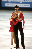 November 19, 2005; Paris, France; Figure skating stars TATIANA TOTMIANINA and MAXIM MARININ of Russia moments after skating to gold in pairs figure skating at Trophee Eric Bompard, ISU Paris Grand Prix competition.  Totmianina and Marinin are one of the favorites for medals in pairs at the Torino 2006 Olympics.<br />