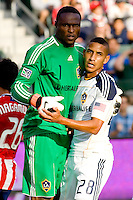 LA Galaxy goalkeeper Donovan Ricketts (l) and teammate defender Sean Franklin (r) dance their way to a victory. The LA Galaxy beat Chivas USA 2-1 at Home Depot Center stadium in Carson, California on Sunday October 3, 2010.