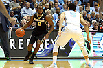 20 January 2016: Wake Forest's Codi Miller-McIntyre (0) and North Carolina's Marcus Paige (5). The University of North Carolina Tar Heels hosted the Wake Forest University Demon Deacons at the Dean E. Smith Center in Chapel Hill, North Carolina in a 2015-16 NCAA Division I Men's Basketball game. UNC won the game 83-68.